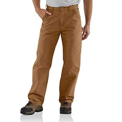 Carhartt Men's Carhartt Brown Washed Duck Work Pant - front