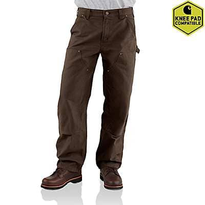 Carhartt Men's Dark Brown Washed-Duck Double-Front Work Dungaree - front
