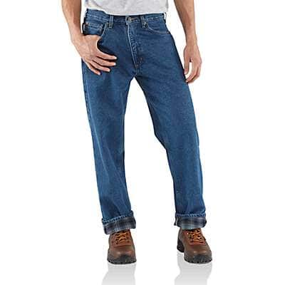 Carhartt Men's Darkstone Relaxed-Fit Straight-Leg Flannel Lined Jean - front