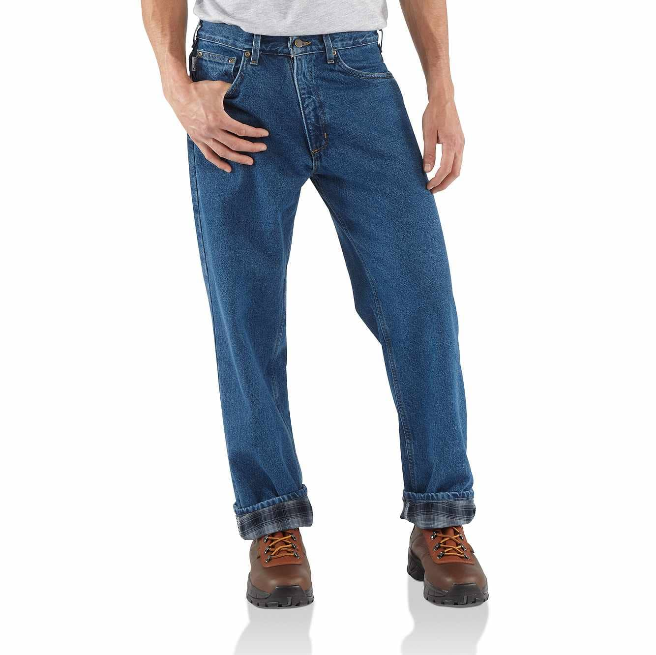 Picture of Relaxed-Fit Straight-Leg Flannel Lined Jean in Darkstone