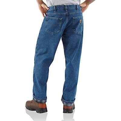 Carhartt Men's Darkstone Relaxed-Fit Straight-Leg Flannel Lined Jean - back