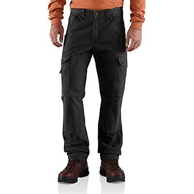 Carhartt Men's Black Cotton Ripstop Relaxed Fit Double-Front Cargo Work Pant - front