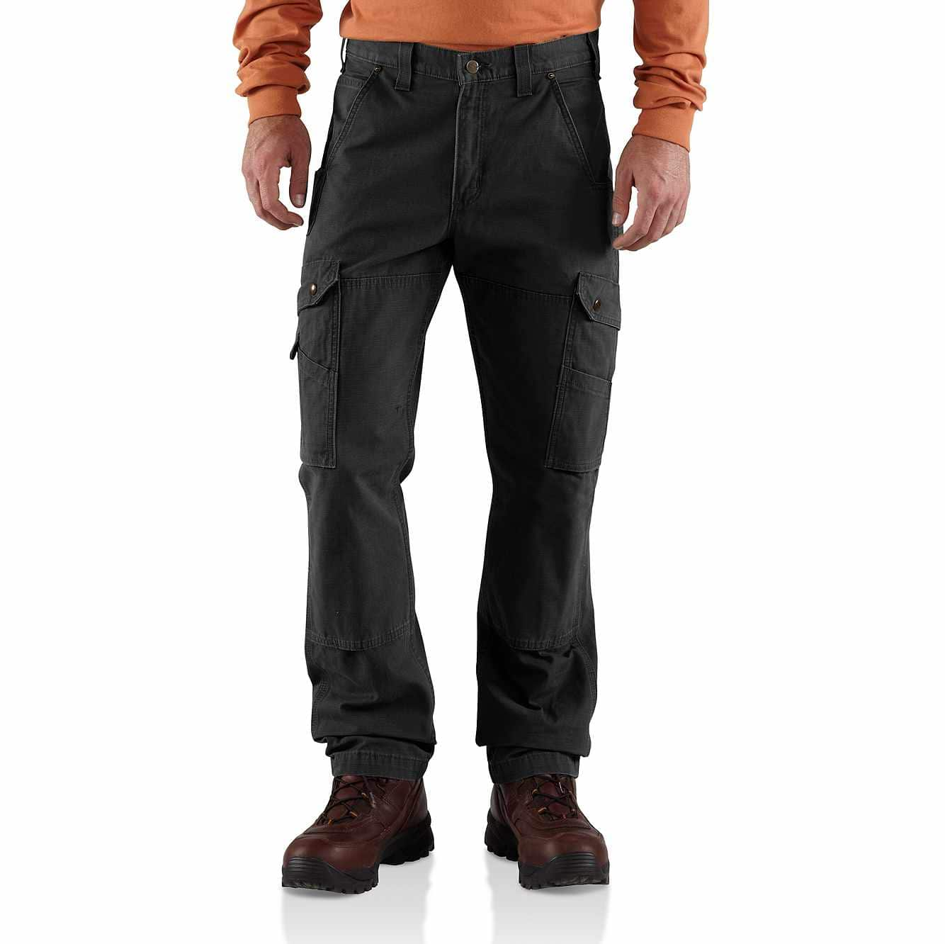 Picture of Cotton Ripstop Relaxed Fit Double-Front Cargo Work Pant in Black