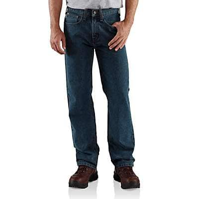 Carhartt Men's Dark Vintage Blue Relaxed-Fit Straight-Leg Jean - front