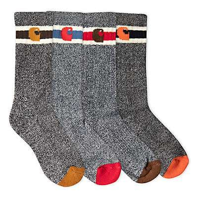 Carhartt Boys' Assorted Camp Crew Sock 6 Pack - front