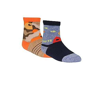 Carhartt Boys' Blue/Orange Carhartt Gripper Crew Sock 2 Pack - front