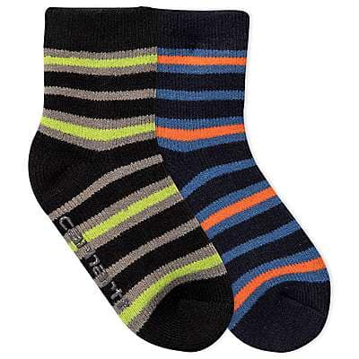 Carhartt Boys' Blue Carhartt Gripper Cozy Thermal Crew Socks 2 Pack - front