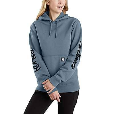 Carhartt  Steel Blue Hurley x Carhartt OG Unisex Pullover Fleece Hoodie - front