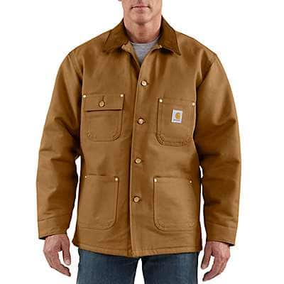 Carhartt Men's Carhartt Brown Duck Blanket-Lined Chore Coat - front