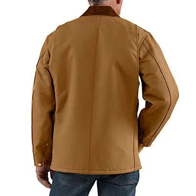 Carhartt Men's Carhartt Brown Duck Blanket-Lined Chore Coat - back
