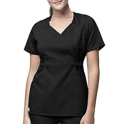 Carhartt Women's Black 3-Pocket Mock-Wrap Scrub Top - front