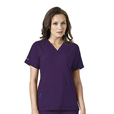 Carhartt Women's Eggplant Cross Flex V-Neck Media Scrub Top - front