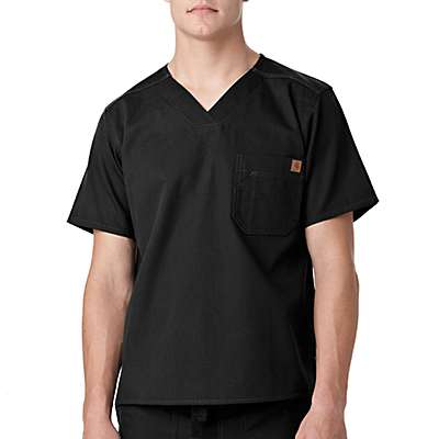 Carhartt Men's Black Solid Ripstop Scrub Utility Top - back