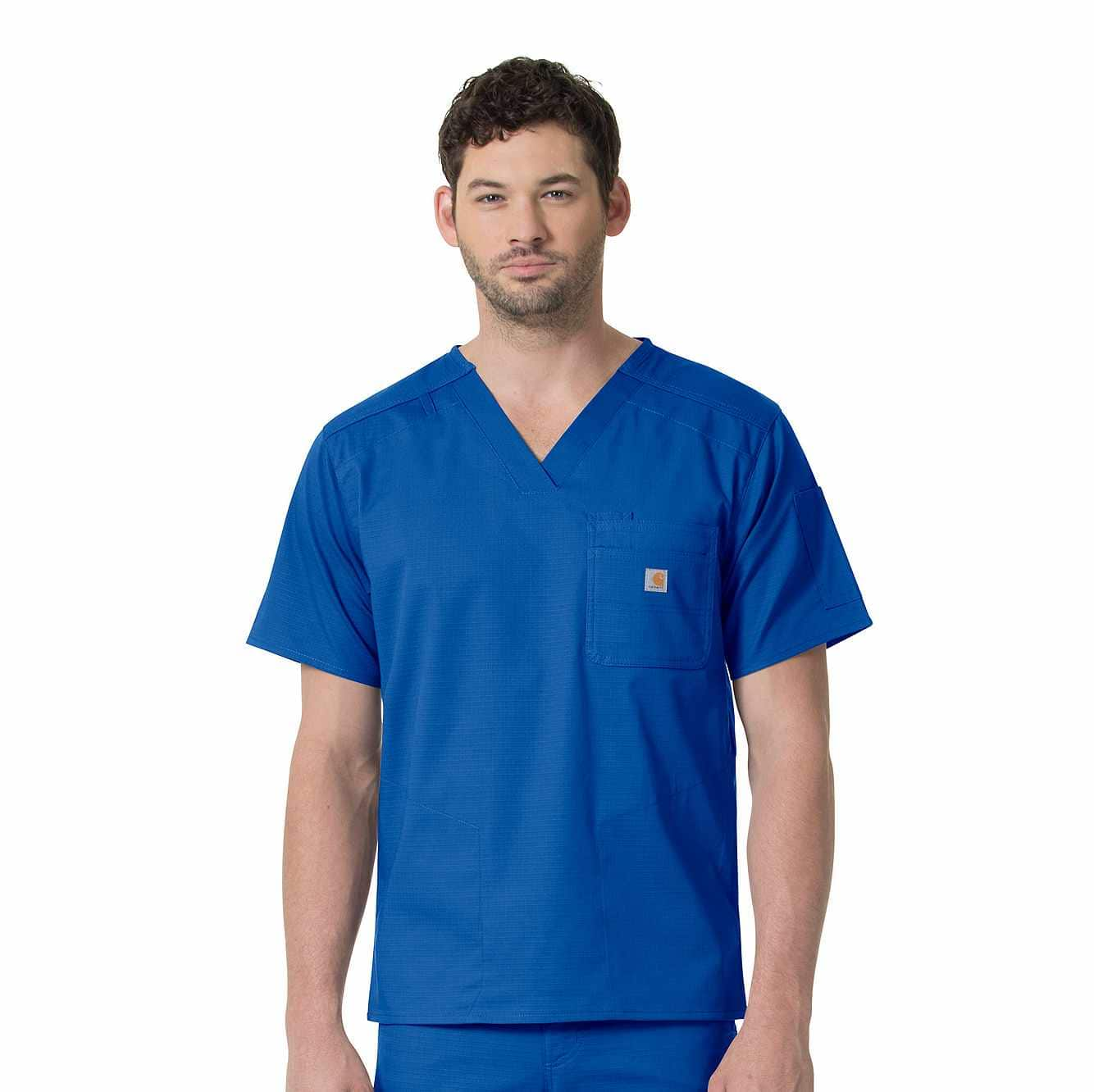 Picture of SLIM FIT SIX POCKET V-NECK SCRUB TOP in Royal
