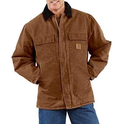 Carhartt Men's Moss Sandstone Traditional Coat / Arctic Quilt Lined - front
