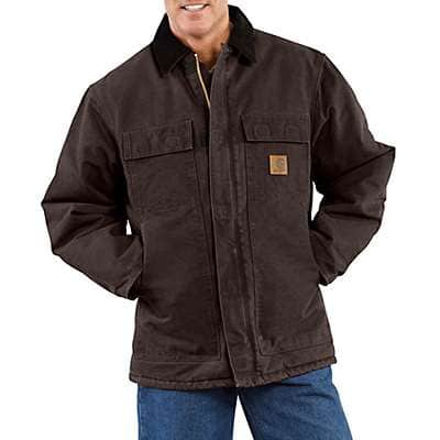 Carhartt Men's Moss Sandstone Traditional Coat / Arctic Quilt Lined - back