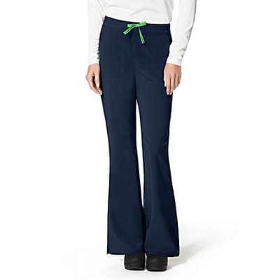 Carhartt Women's Navy Cross Flex Flat Front Flare Scrub Pant - front