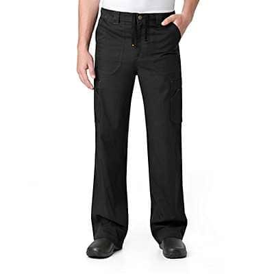 Carhartt Men's Black Ripstop Multi-Cargo Scrub Pant - front