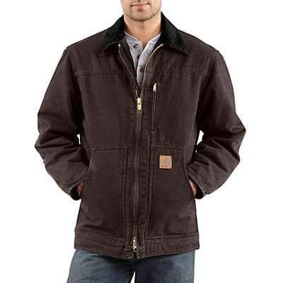 Carhartt Men's Dark Brown Sandstone Ridge Coat / Sherpa Lined - front