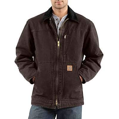 Carhartt Men's Dark Brown Sandstone Ridge Coat / Sherpa Lined - front