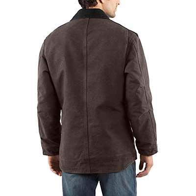 Carhartt Men's Dark Brown Sandstone Ridge Coat / Sherpa Lined - back