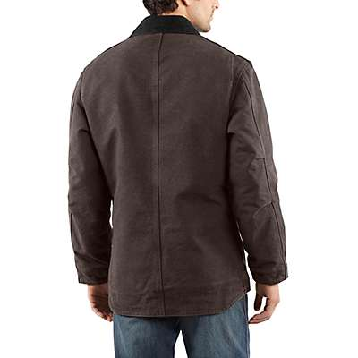 Carhartt Men's Dark Brown Sandstone Ridge Coat / Sherpa Lined - back