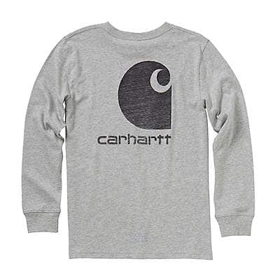 Carhartt Boys' Grey Heather Long-Sleeve Logo Tee - front
