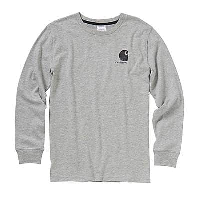 Carhartt Boys' Grey Heather Long-Sleeve Logo Tee - back