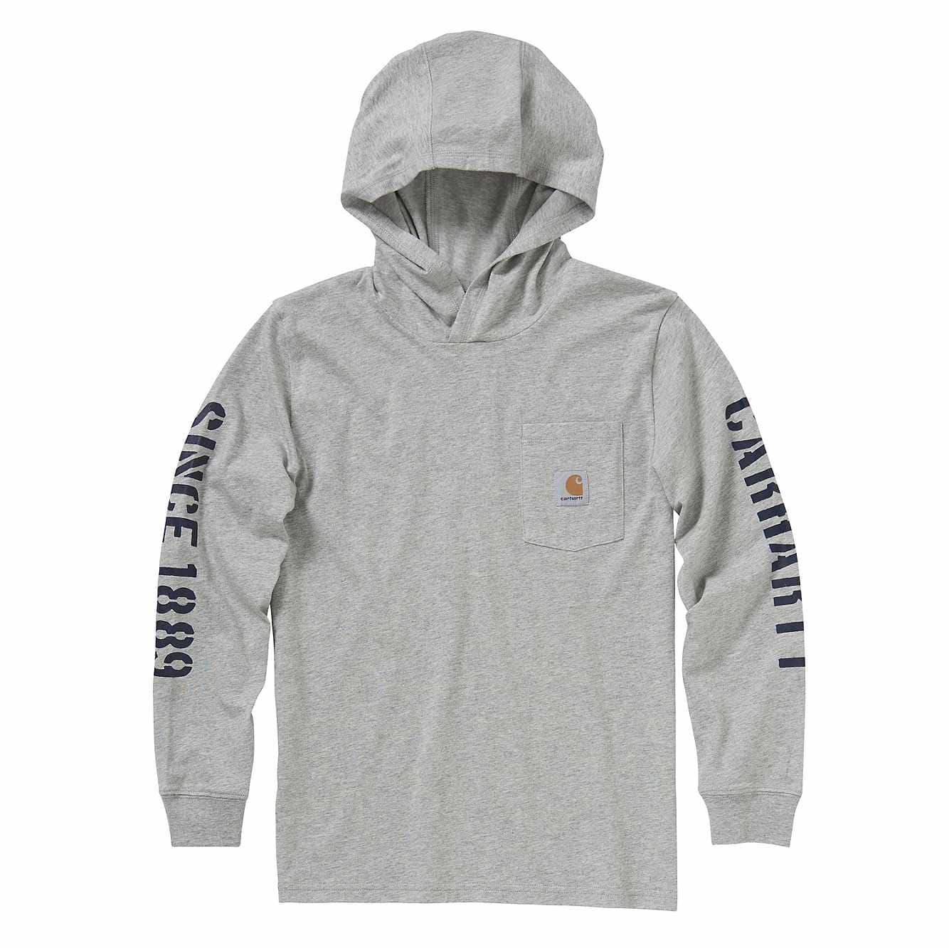 Picture of Long-Sleeve Hooded Pocket Tee in Grey Heather