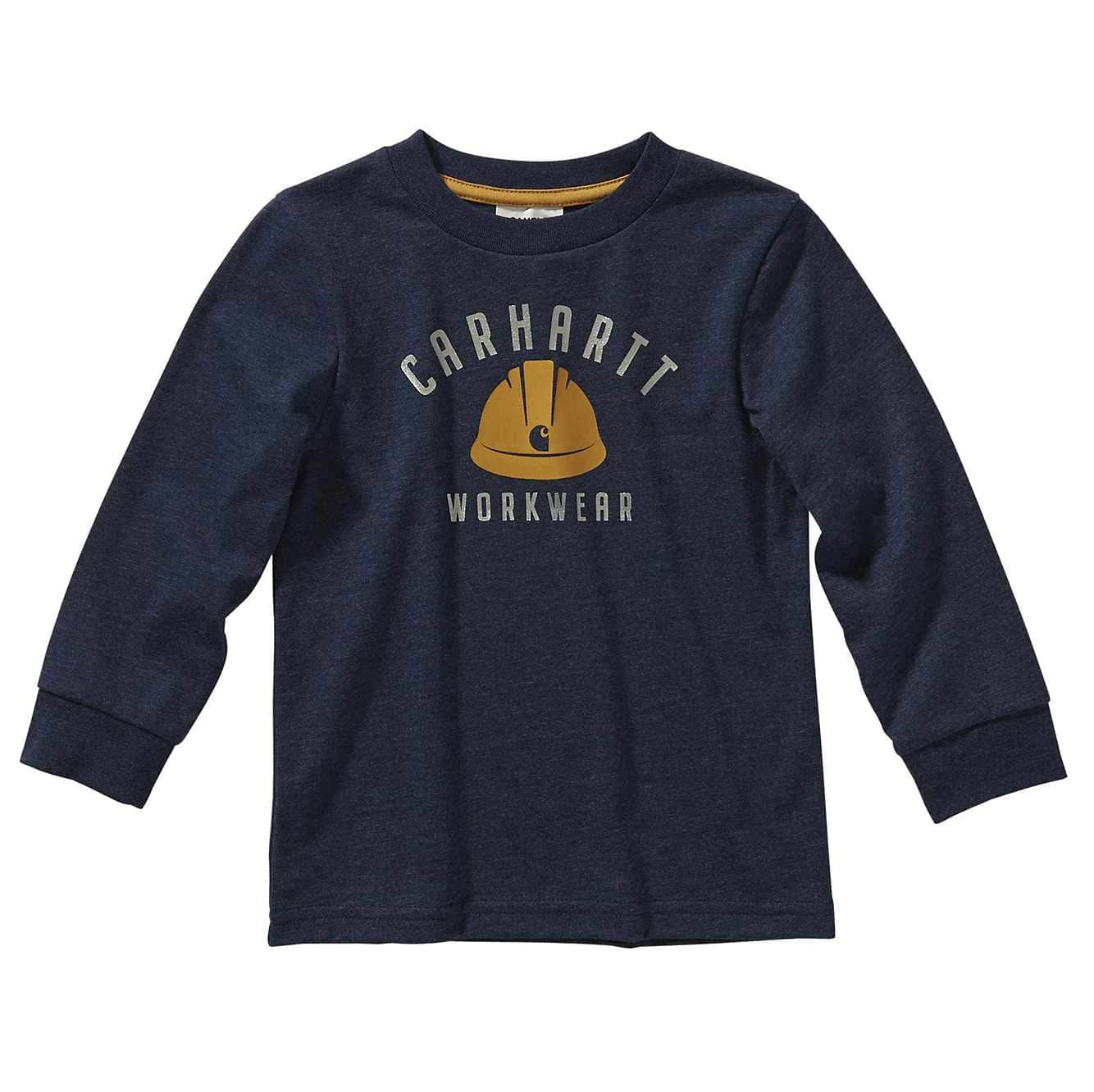 Picture of Long Sleeve Heather Graphic Tee in Navy Blue Heather