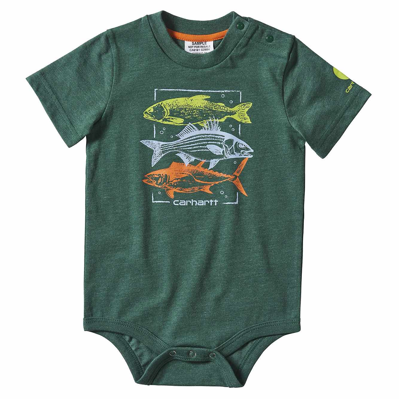 Picture of Fish Stack Graphic Bodyshirt in Hunter Green Heather