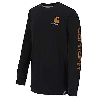 Carhartt Boys' Caviar Black Carhartt Logo T-Shirt - front