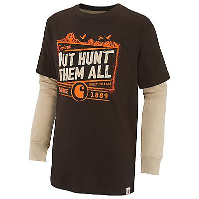 Carhartt Boys' Mustang Brown Out Hunt Them All Layered T-Shirt - front