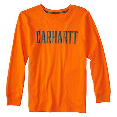 Carhartt Boys' Blaze Orange Long-Sleeve Carhartt Block Graphic Tee - front