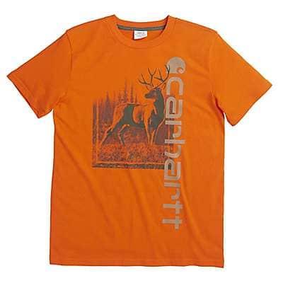 Carhartt Boys' Blaze Orange Vertical Carhartt Tee - front