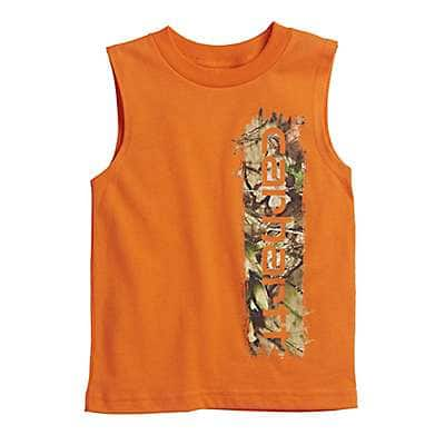 Carhartt Boys' Blaze Orange Camo Filled Tee - front