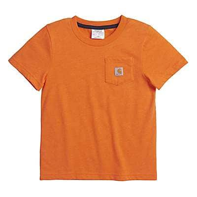 Carhartt Boys' Blaze Orange Heather Short Sleeve Pocket Tee - front