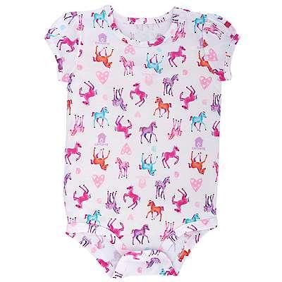 Carhartt Girls' White Watercolor Horse Printed Bodyshirt - front