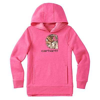 Carhartt Girls' Fuschia Purple Heather Camo C Sweatshirt - front