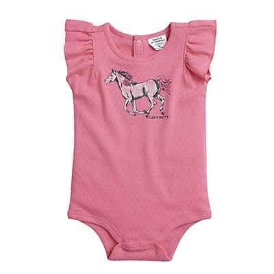 Carhartt Girls' Dark Peony Watercolor Horse Bodyshirt - front