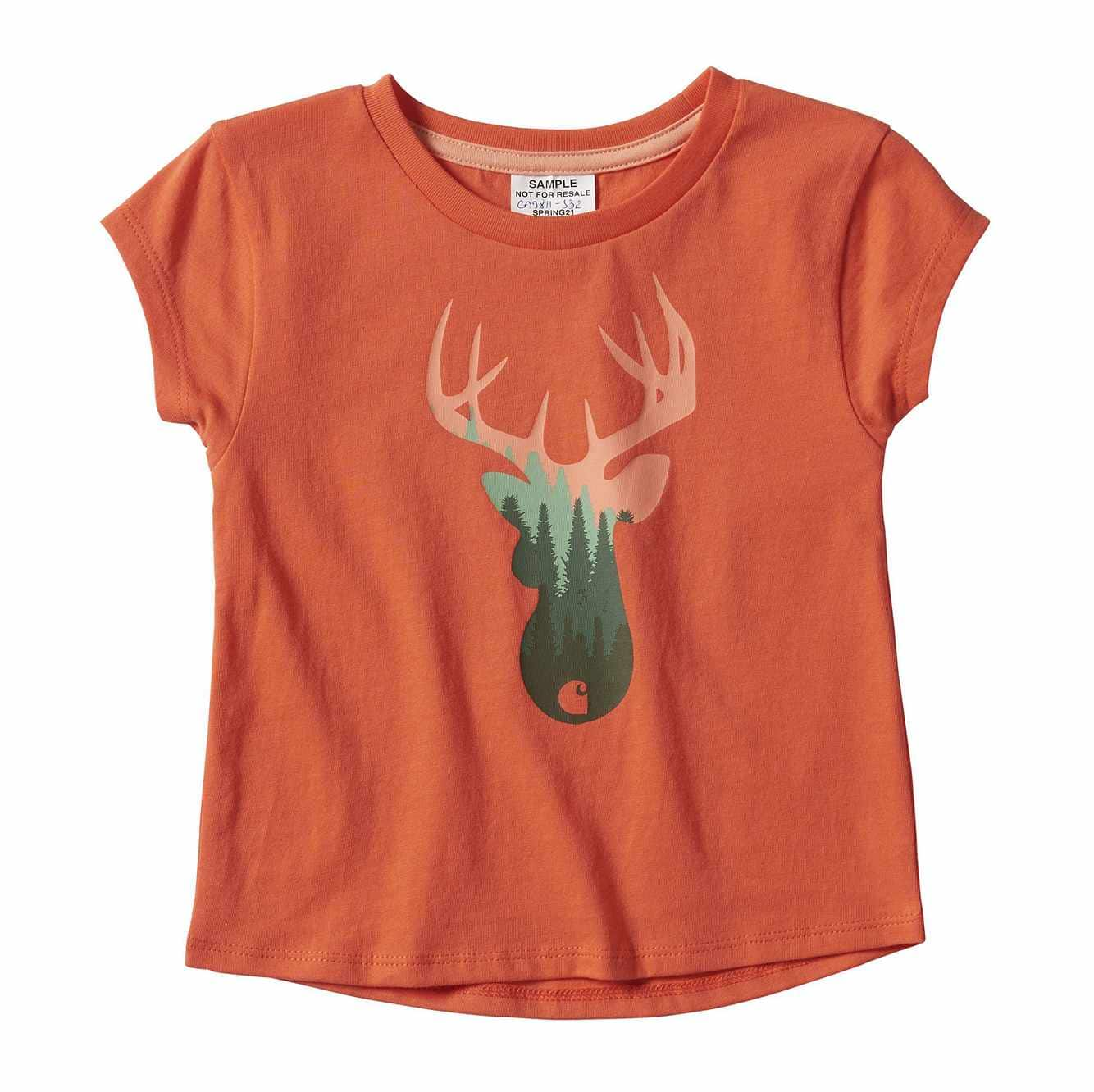 Picture of Treeline Deer Graphic T-Shirt in Coral