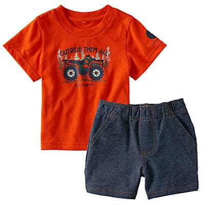 Carhartt Boys' Worn In Blue Outride Them All Short Set - front