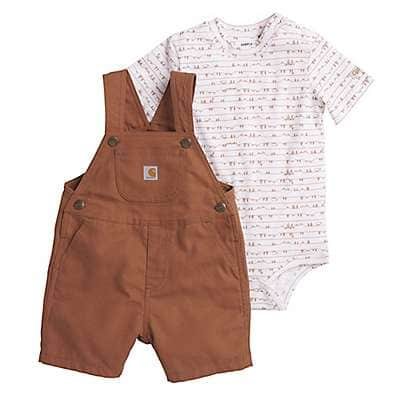 Carhartt Boys' Carhartt Brown Canvas Shortall Set - front
