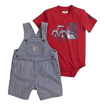 Carhartt Boys' Dark Indigo Ticking Stripe Ticking Stripe Shortall Set - front