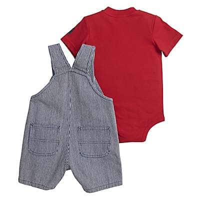 Carhartt Boys' Dark Indigo Ticking Stripe Ticking Stripe Shortall Set - back