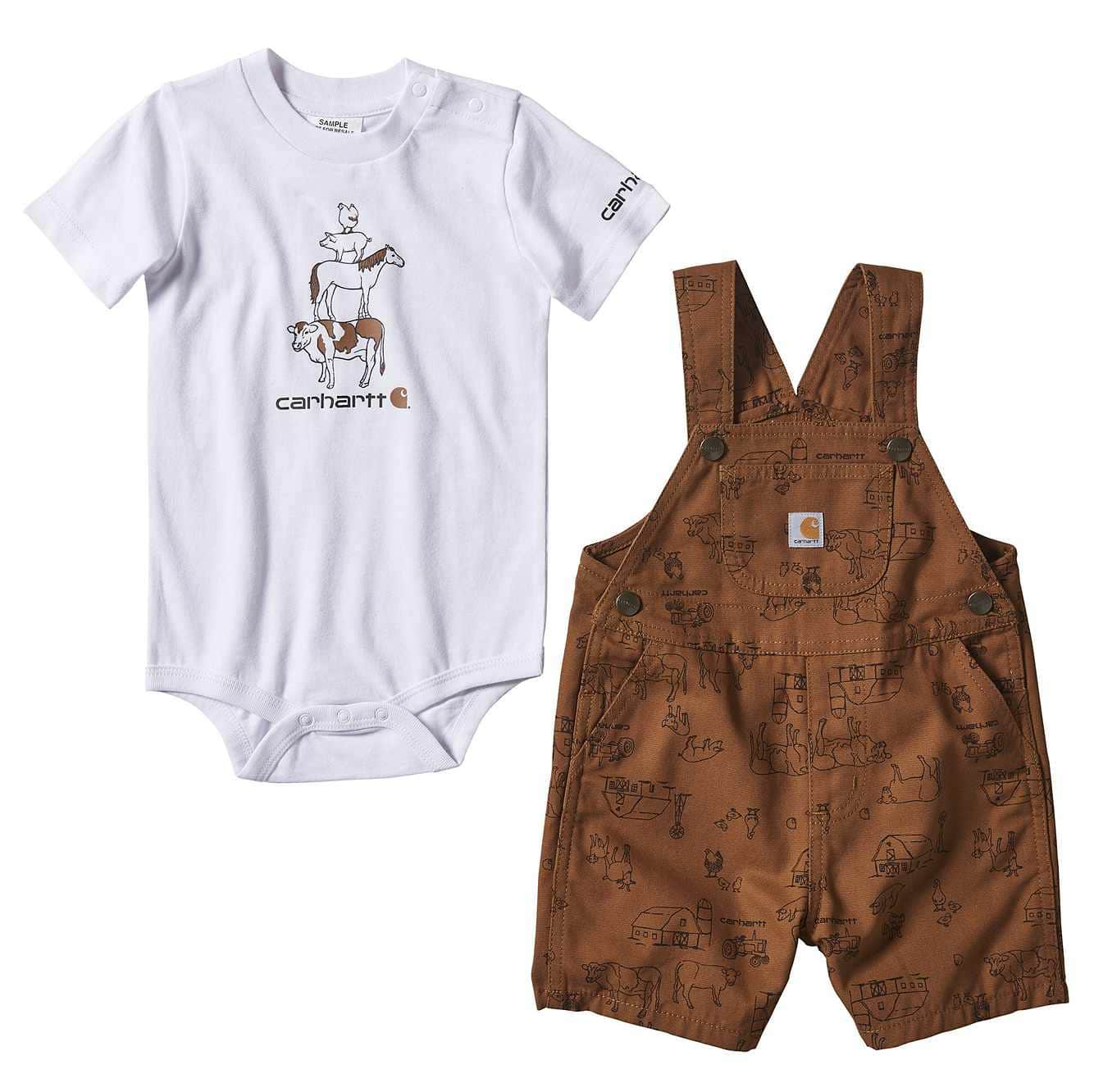 Picture of Printed Canvas Shortall Set in Carhartt Brown