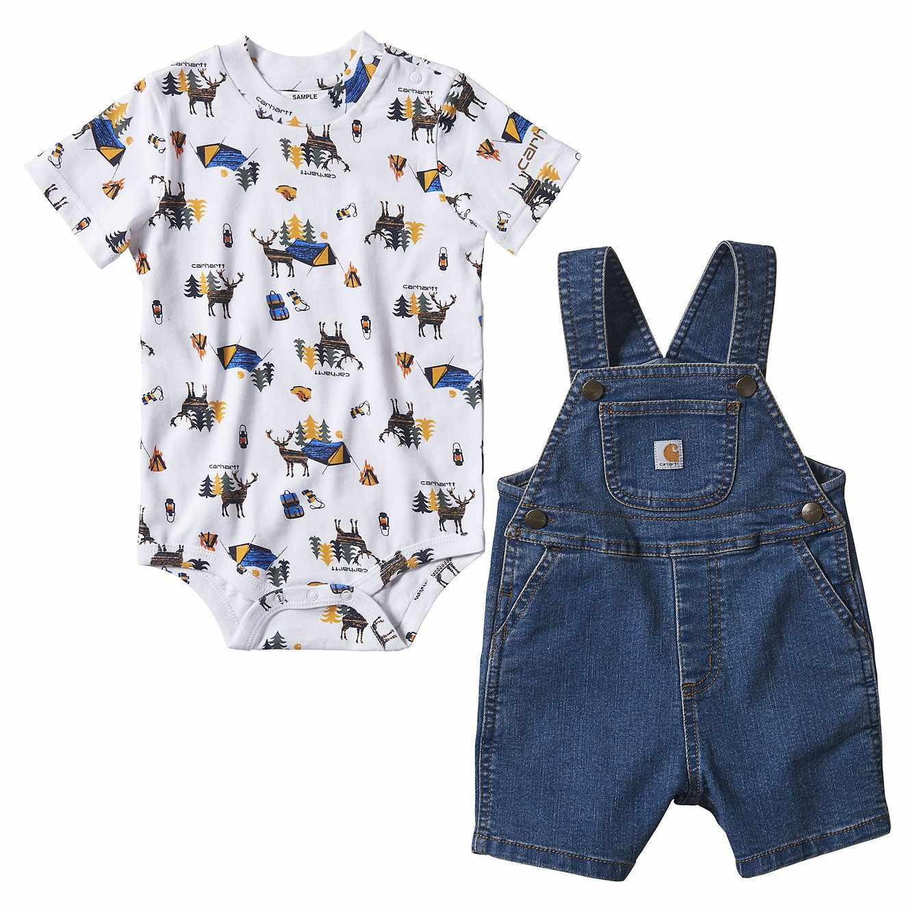 Picture of Denim Shortall Set in Medium Wash