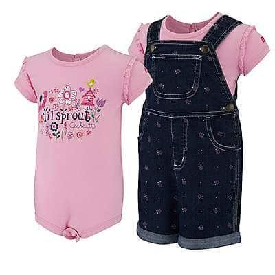Carhartt Girls' Classic Wash Infant/Toddler Printed Denim Shortall Set - front