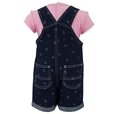 Carhartt Girls' Classic Wash Infant/Toddler Printed Denim Shortall Set - back