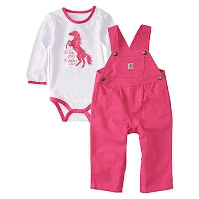 Carhartt Girls' Fuschia Purple Canvas Overall Set - front